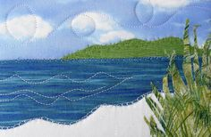 Landscape Quilted Postcard Fabric Postcard Ocean by SewUpscale