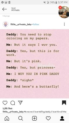 Daddy's Little Girl Quotes, Baby Girl Quotes, Mommy Quotes, Little Things Quotes, Daddy I Love You, Good Daddy, Daddys Little Princess, Daddy Dom Little Girl, Text Daddy