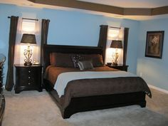 My Master Bedroom! Blue/Brown combo is very relaxing!