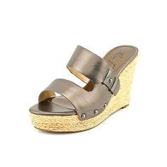Marc Fisher Women's Hubie Slide Platform Wedges Sandals, Pewter 6M US *** Click on the image for additional details.