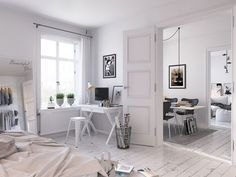 Bedroom with workspace in a white Scandinavian home (3D) by Sachin Mahajan