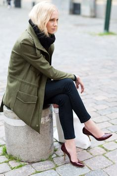 Still loving the olive coat and sleeveless layering sweater | Big Knit Gilet | Emerson Fry