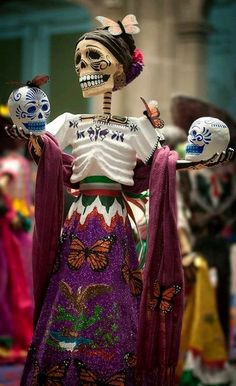 Day of the Dead Catrina folk art doll, Mexico Mexico Day Of The Dead, Day Of The Dead Art, All Souls Day, Mexican Holiday, All Saints Day, Image C, Mexican Folk Art, Mexican Style, Mexican Skulls