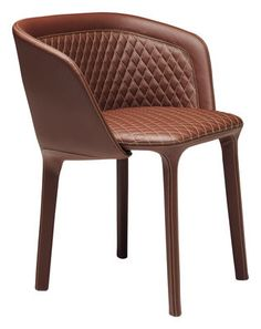 Lepel Padded armchair - Padded imitation leather Nutbrown leatherette by…