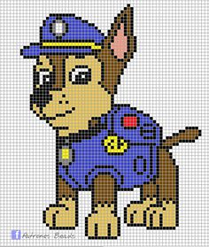 Discover thousands of images about Paw Patrol Pattern - Chase PAW Patrol perler pattern Patrones Beads Plantillas Beading Patterns, Embroidery Patterns, Cross Stitch Patterns, Crochet Patterns, Art Patterns, Pearler Bead Patterns, Perler Patterns, Plastic Canvas Crafts, Plastic Canvas Patterns