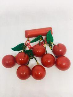 Genuine vintage Bakelite cherries necklace, brooch and earrings Cherry Necklace, Plastic Coating, Cherries, Carving, Brooch, Etsy, Vintage, Maraschino Cherries, Cherry Fruit