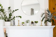 Awesome plants/decor on fireplace Apt Therapy//Chris and Amber's Old + New Renovated Home
