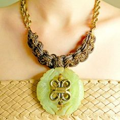 Chunky Jade necklace  statement jewelry by whimsicaljewellery, $68.00