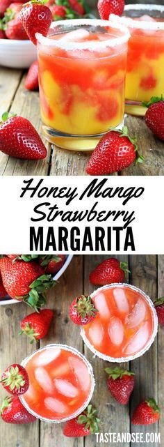 The Honey Mango Strawberry Margarita… fresh, fruity, boozy and delicious! The… The Honey Mango Strawberry Margarita… fresh, fruity, boozy and Fruity Alcohol Drinks, Fruity Cocktails, Alcohol Drink Recipes, Sangria Recipes, Margarita Recipes, Non Alcoholic Drinks, Yummy Drinks, Cocktail Recipes, Mixed Drink Recipes