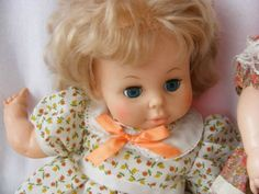Eegee Baby Doll Lot of 3 Left to right: 1970s 24  long Baby Doll. Cloth body (spots on cloth body) with vinyl legs, arms and head. Beautiful big blue eyes and long eyelashes. 1973 23  Softina Eegee ba