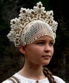Stunning reproduction of an Archangel type maiden venec/kokoshnik.