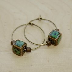 Turquoise Cube Ceramic  Bronze Beads Hoop Earrings from Carftworklover by DaWanda.com