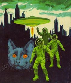 flying saucer & a cat ! plus spacemen & alien looking city backdrop. amazing.