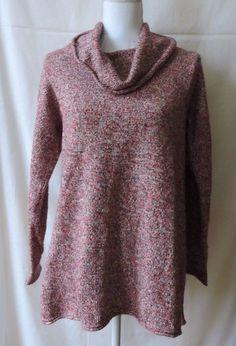 Pure Jill J.Jill Women Red Gray Marled Cowl Neck Sweater Size Small #JJill #CowlNeck