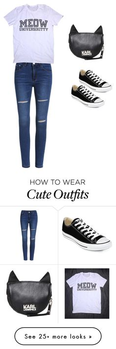 """""""Cute Cat Outfit"""" by hyperwavefashion on Polyvore featuring Karl Lagerfeld and Converse"""