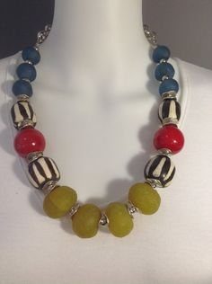 Bright and bold African Tribal necklace - Bone and recycled glass by Afrigal Designs