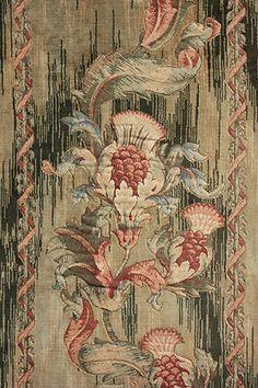 Vintage French heavy velveteen fabric metalic thread Art Nouveau c1920 length 3 | eBay