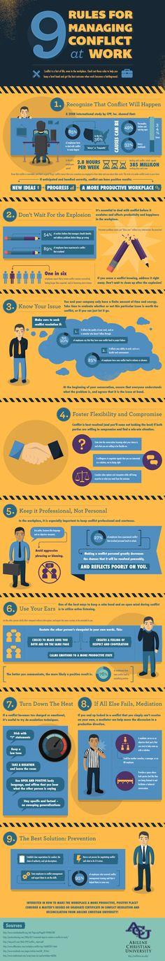 9 pasos para manejar conflictos en el trabajo #infografia #infographic