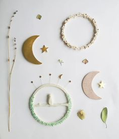 Handmade porcelain celestial and woodland themed natural wall decor.