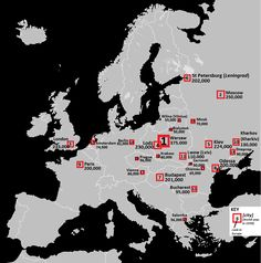 Map of European cities ranked by Jewish populations in 1939.