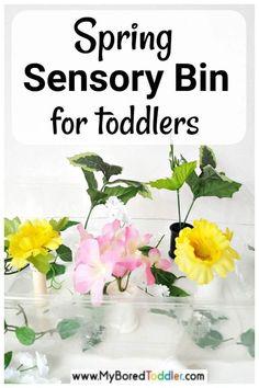Spring Flowers Sensory Bin - My Bored Toddler Fine Motor Activities For Kids, Sensory Activities Toddlers, Spring Activities, Sensory Bins, Infant Activities, Kids Learning, Sensory Play, Kids Motor, Sensory Bottles