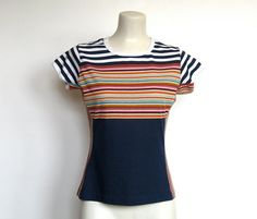 SOLD / #Vintage 1970 - 80s Multicolored Striped Tshirt / by VelouriaVintage, $14.00