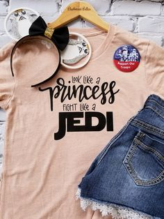Disney Shirts/Disney Family Shirts/Star Wars/Look Like A Princess Fight Like A Jedi Shirt/Disney Shirts for Women/Disney - Fangirl Shirts - Ideas of Fangirl Shirts - Disney Shirt/Disney Family Shirts/Star Wars Shirt/Look Like A Disney Inspired Outfits, Disney Outfits, Disney Style, Disney Clothes, Disney Fashion, Fashion Outfits, Disney Tees, Disney Shirts For Family, Disney Shirt For Women