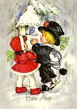 AK Neujahr, Buon Anno / Schornsteinfeger mit Rotkäppchen am Vogelhaus
