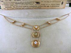 1915 Edwardian Art Deco 14k .79 carat diamond peridot festoon necklace w/ fitted case