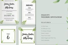Felicity Wedding Invitation Suite by deviserpark on @creativemarket