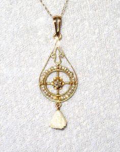 Vintage 10K Pearls Diamond Lavalier