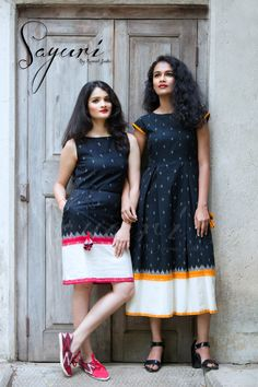 Black ikat dress with a white border. Kalamkari Dresses, Ikkat Dresses, Frock Dress, Saree Dress, Casual Frocks, Casual Dresses, Girls Dresses, Summer Dresses, Frock Fashion