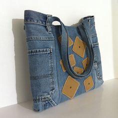 Recycled jean tote bag , Vegan denim handbag , Eco friendly blue jean school tote bag , College girl purse , Laptop bag