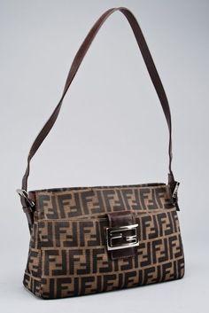 Fendi Brown Zucca Print Baguette Shoulder Bag