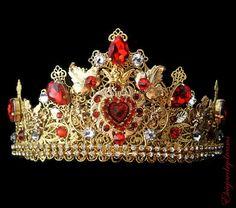 MADONA Baroque Crown Red Headband Swarovski 24 k Gold Handmade