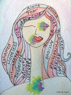 Words of Domestic Violence ORIGINAL watercolor by carterdealejos