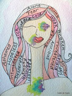 Words of Domestic Violence ORIGINAL watercolor by carterdealejos