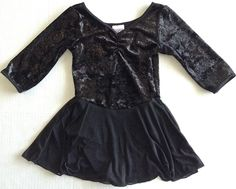 Danskin Velvet Sparkle Dance Figure Skating Dress Leotard Black Size 6/6X #Danskin