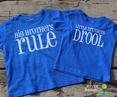 VIEW all of our BROTHER & SISTER DESIGNS here: https://www.etsy.com/shop/RiverImprints?section_id=12965652 Your boys will look great in this coordinating set -- BIG BROTHERS RULE tee or bodysuit and L