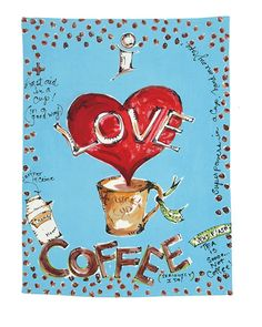 'I Love Coffee' ( Set of 2 Dish Towels by Peking Handicraft)