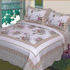 """Fancy Collection 3pc Bedspread Bed Cover Floral Off White Green Purple Green Pink Queen Over size 100\"""" x 106\"""" >>> Details can be found by clicking on the image."""