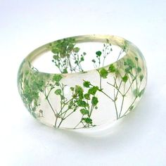 Green Resin Bangle. Pressed Flowers. Green by SpottedDogAsheville