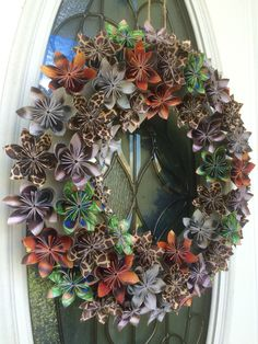 Zoo, jungle, forest animal print paper origami wreath