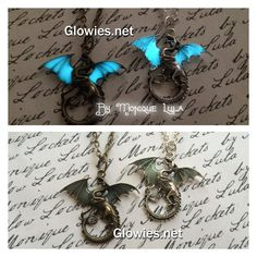 """You will find butterflies with glowing wings and dragonflies and now Dragons too!~ Here are my beautiful big dragons and now they have glow in the dark wings! Comes on 24"""" matching link chain for boys or girls! Dragon measures about 2"""" These are limited in quantity listing will display """"sold out"""" when item sells. If this item is out of stock, I also make Frost Dragons with Glowing Wings too!~ Now available in Silver Delicately and professionally handmade by Monique Lula in my smoke free…"""