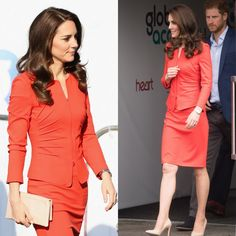 Kate Middleton was radiant in red as she joined husband Prince William and her brother-in-law Prince Harry for an engagement in London on April 20, 2017. The Duchess of Cambridge wore a new Giorgio Armani suit for the outing, where the royal trio opened the Global Academy. The chic suit featured a red fitted jacket with zip front fastening, which she wore over a co-ordinating red dress. The Duchess accessorized the look with two of her style staples: a nude clutch and pumps.