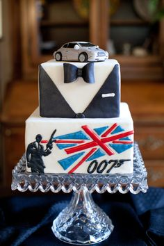 James Bond Themed Birthday Cake  Cake by The Baked Equation Astin Martin Cake Topper Edible Details  Photo By Janelle Zeller Photography