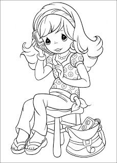 Precious Moments girl black and white ~ Child Coloring