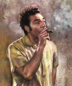 Kramer by Ylli Haruni Cigar Room, Cigar Bar, Pastel Portraits, Cigars And Whiskey, Cigar Smoking, Seinfeld, Funny Pictures, Funny Pics, Cosmos