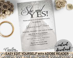 Silver Wedding Dress Bridal Shower She Said Yes Invitation Editable in Silver And White, bridal invitation, shower celebration - C0CS5 #bridalshower #bride-to-be #bridetobe