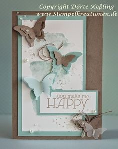: You make me HAPPY . You are in the right place about DIY Anniversary videos Here we offer you the most beautiful pictures about the DIY Anniversary gifts you are looking for. Tarjetas Stampin Up, Stampin Up Cards, Cool Cards, Diy Cards, You Make Me Happy, Butterfly Cards, Sympathy Cards, Card Tags, Creative Cards